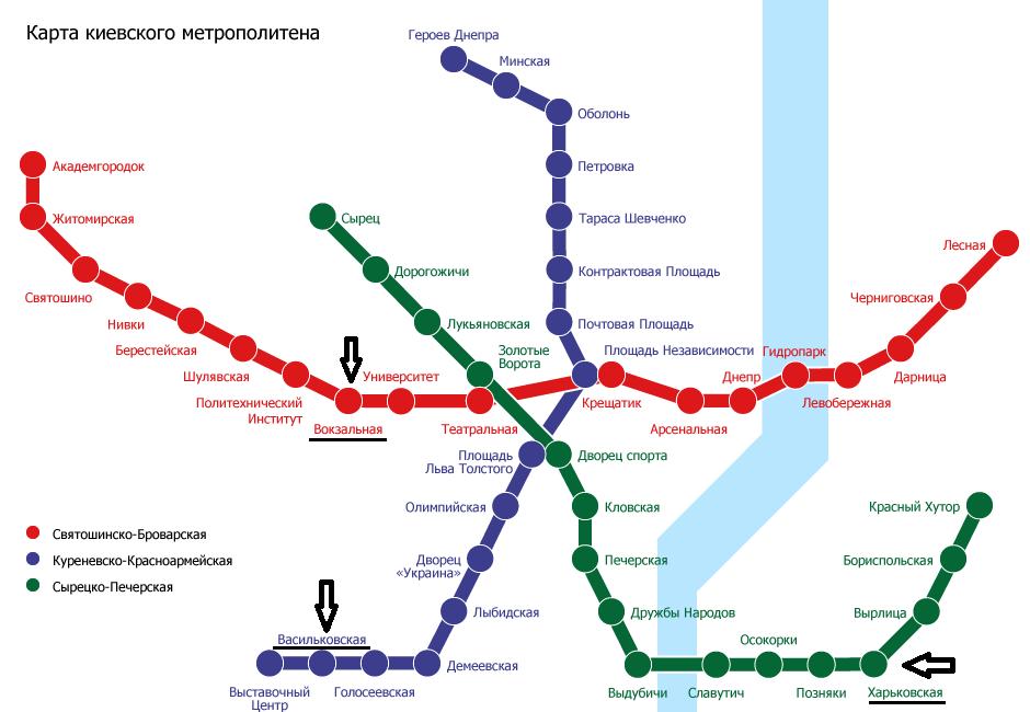 Схем а киевского метрополитена
